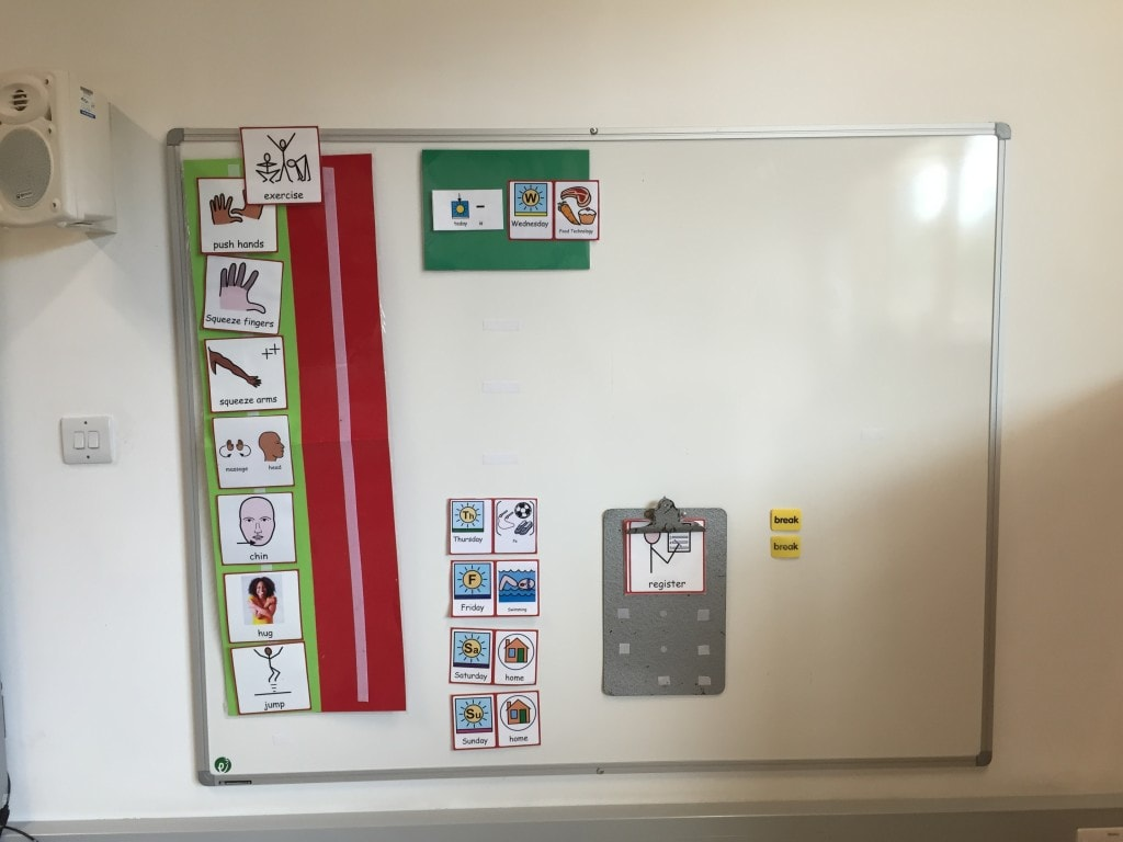 ASD visual timetable transition point